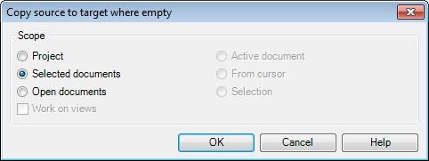 MemoQ copy source to target Copy source to target (dialog)