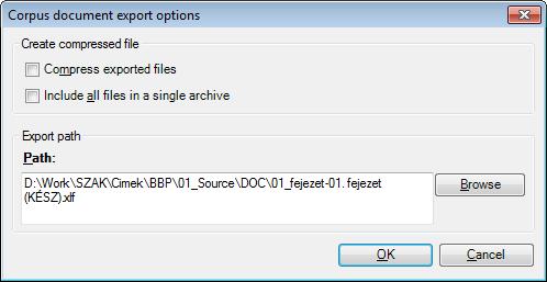 MemoQ corpus document export options Corpus document export options