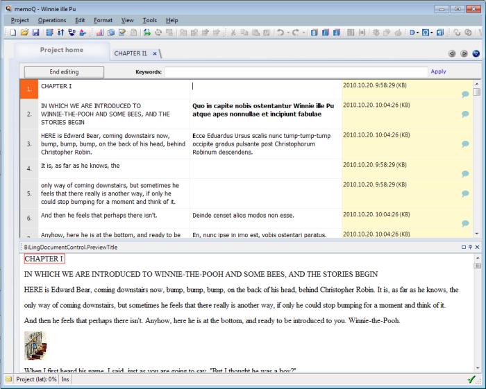 MemoQ corpus editor bilingual LiveDocs: Bilingual document (ActiveTM) editor