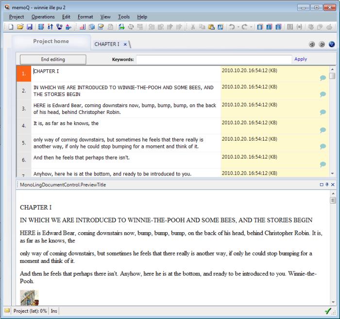 MemoQ corpus editor monolingual LiveDocs: Monolingual document (Library) editor