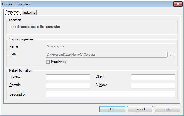 MemoQ corpus properties Corpus properties (dialog)