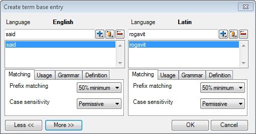 MemoQ create new term base entry long Create term base entry (dialog)