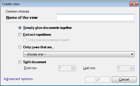 MemoQ create view simple Create view (simple options) (dialog)