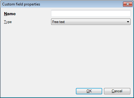 MemoQ custom field properties freetext Custom field properties (dialog)