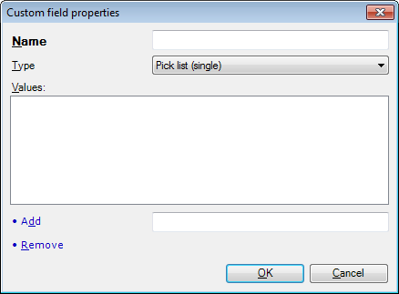 MemoQ custom field properties picklist Custom field properties (dialog)