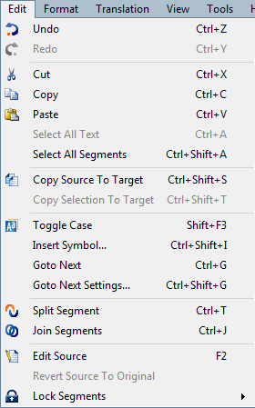 MemoQ edit menu Edit menu