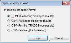 MemoQ export statistics results Statistics