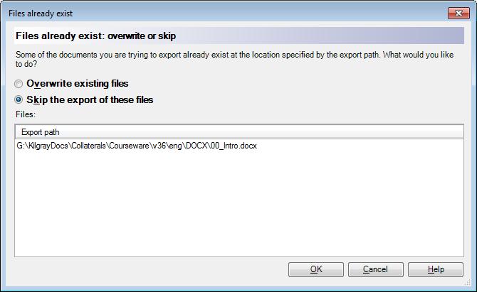 MemoQ exportpath exists Files already exist (dialog)