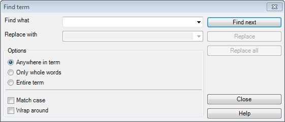 MemoQ find term Find and replace in a term base