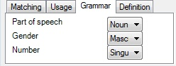 MemoQ grammar tab Edit term base entry
