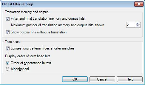 MemoQ hit list filter settings Hit list filter settings