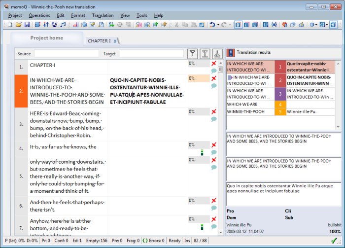 MemoQ howto grid Work in the translation editor