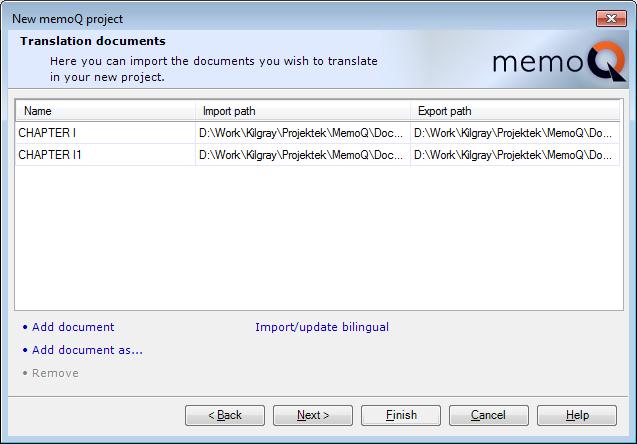 MemoQ howto projwiz 2 New memoQ project wizard 2   Translation documents
