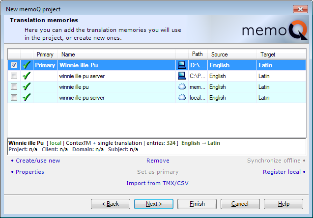 MemoQ howto projwiz 3 New memoQ project wizard 3   Translation memories