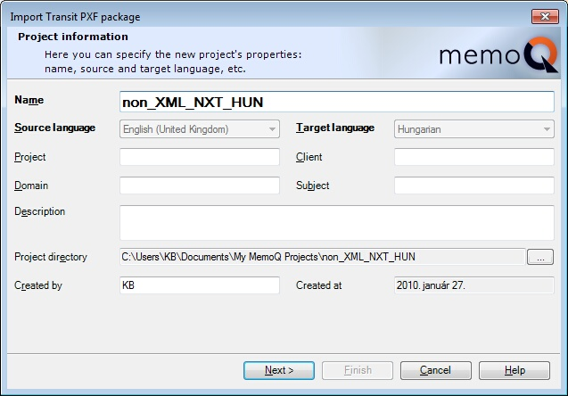 MemoQ import transit project wiz 1 Import Transit project