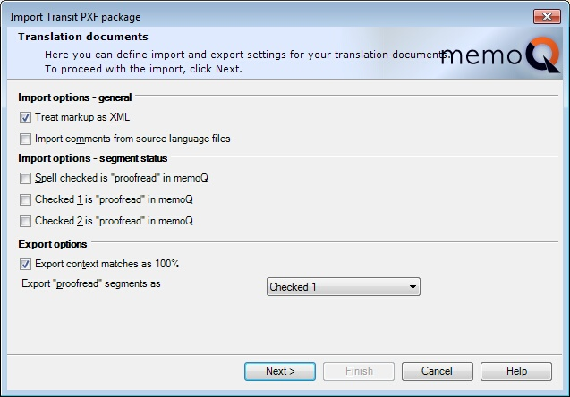 MemoQ import transit project wiz 2 Import Transit project