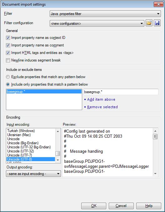 MemoQ java properties settings Java properties files (.properties)