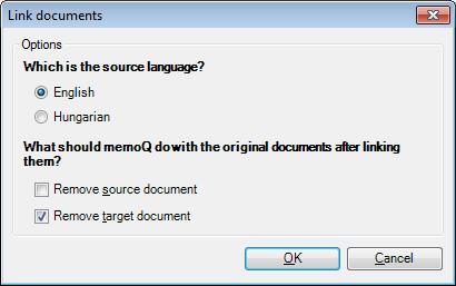 MemoQ link documents Link documents (in LiveDocs corpus) (dialog)