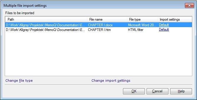 MemoQ mutliple file import settings dialog Multiple file import settings (dialog)