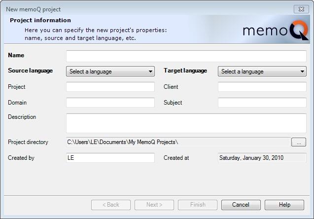 MemoQ new project wizard 1 New memoQ project wizard