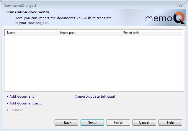 MemoQ new project wizard 2 New memoQ project wizard