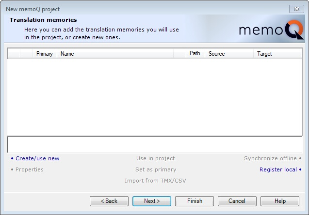 MemoQ new project wizard 3 New memoQ project wizard