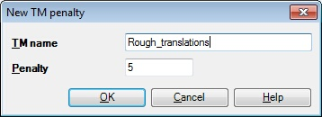 MemoQ new tm penalty dialog New TM penalty