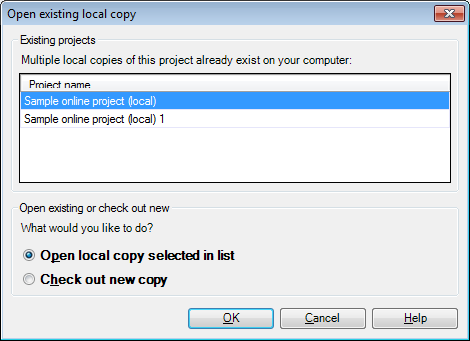 MemoQ open existing local copy Open existing local copy (of online project) (dialog)