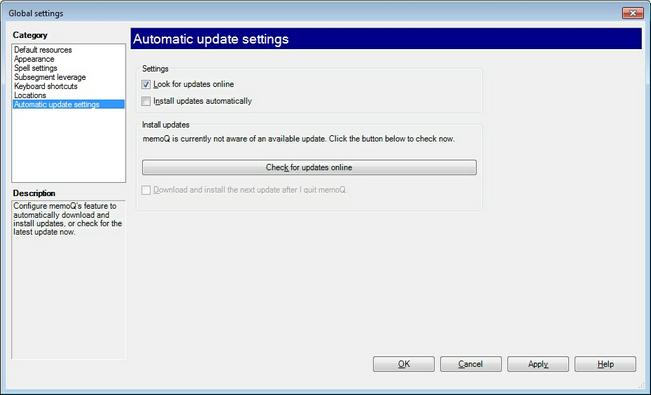 MemoQ options autoupdate.zoom70 Options   Automatic update settings