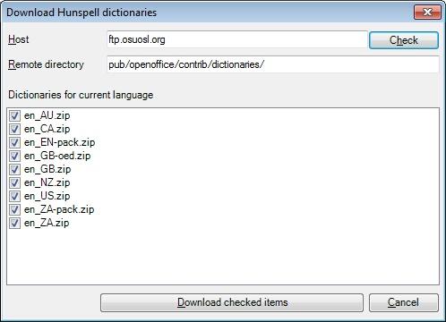 MemoQ options hunspell dictionaries Options   Spell settings
