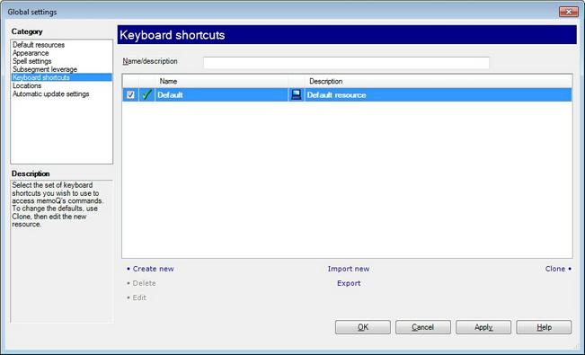 MemoQ options keyboard shortcuts.zoom70 Keyboard shortcuts