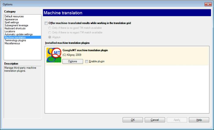 MemoQ options machine translation Options   Machine translation