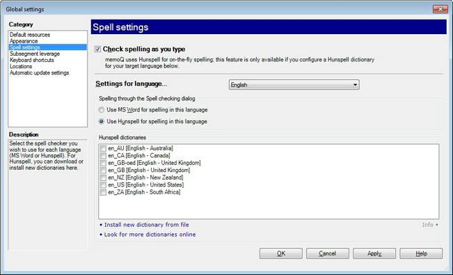 MemoQ options spell settings.zoom70 Options   Spell settings