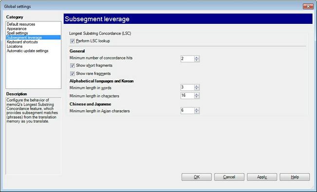 MemoQ options subsegment leverage.zoom70 Options   Subsegment leverage