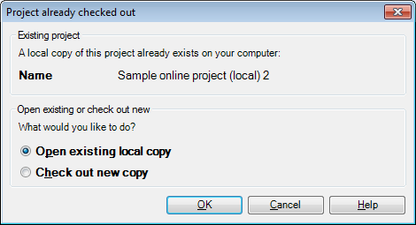 MemoQ project already checked out Project already checked out (dialog)