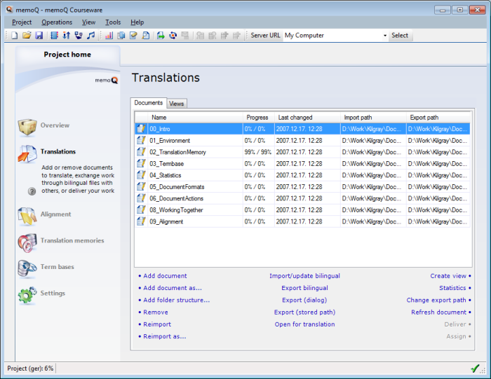 MemoQ project home translations transpro Project home   Translations pane
