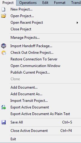 MemoQ project menu Project menu