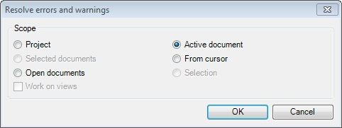 MemoQ resolve errors and warnings Resolve errors and warnings tab