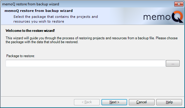 MemoQ restore from backup wizard 1 Restore projects from backup (wizard)