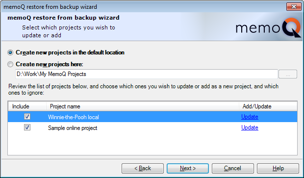 MemoQ restore from backup wizard 2 Restore projects from backup (wizard)