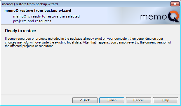 MemoQ restore from backup wizard 3 Restore projects from backup (wizard)