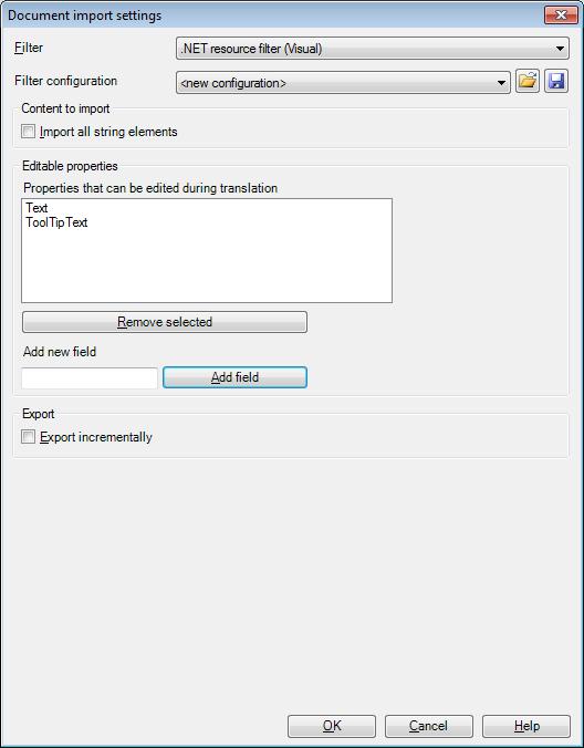 MemoQ resx import settings .NET resource files (RESX)