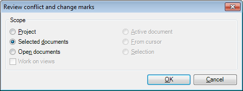 MemoQ review changes and conflicts dialog Review conflict and change marks (dialog)