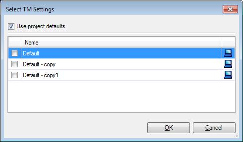 MemoQ select tm settings dialog Select TM settings (dialog)
