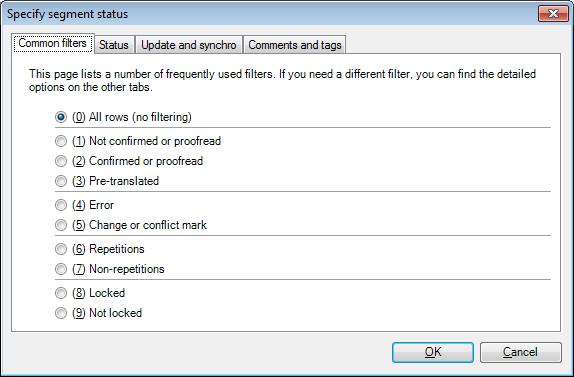 MemoQ specify segment status Specify segment status (filtering) (dialog)