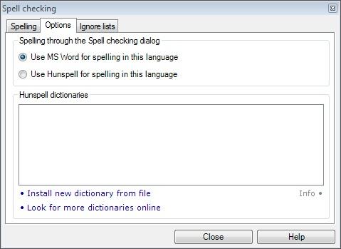 MemoQ spelling options tab Spell checking (dialog)