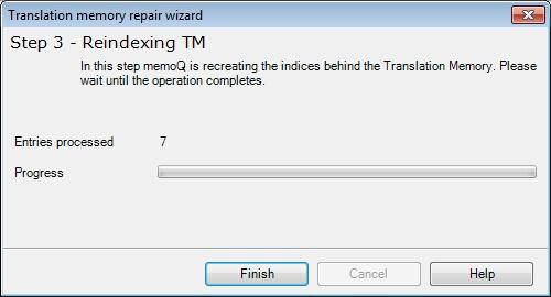 MemoQ tm repair wizard step 3 Translation memory repair wizard