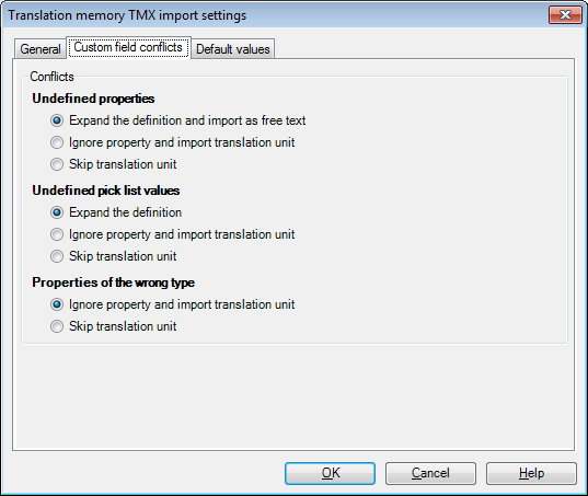 MemoQ tm tmx import settings conflicts Term base TMX import settings