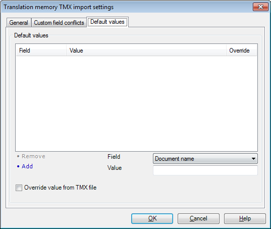 MemoQ tm tmx import settings defaults Term base TMX import settings