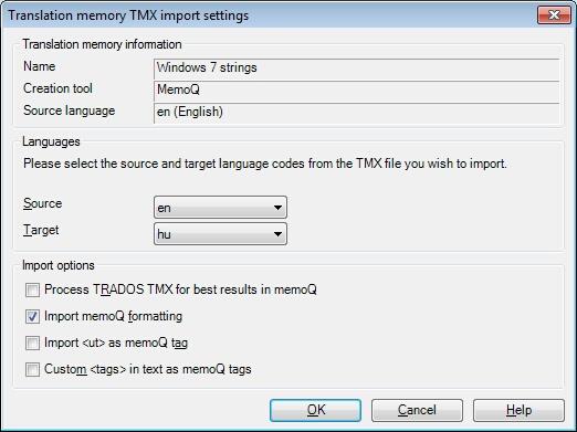 MemoQ tm tmx import settings dialog Translation memory TMX import settings dialog